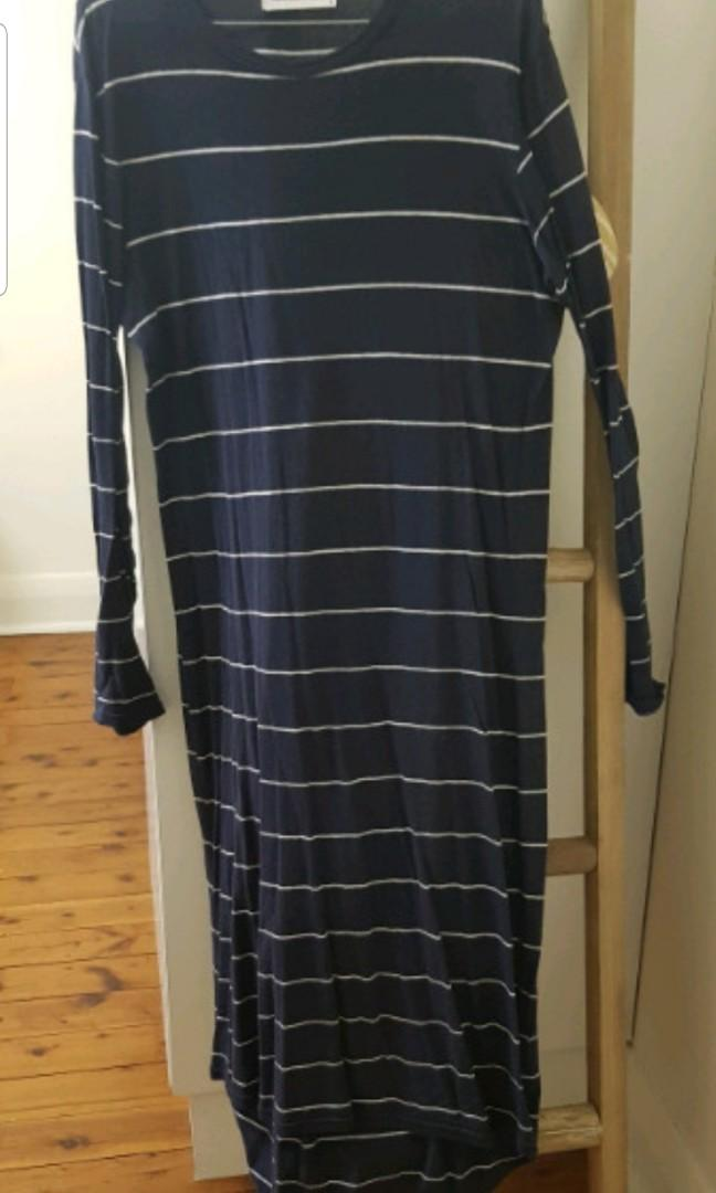 Long sleeve stripe dress top from assembly label size 10