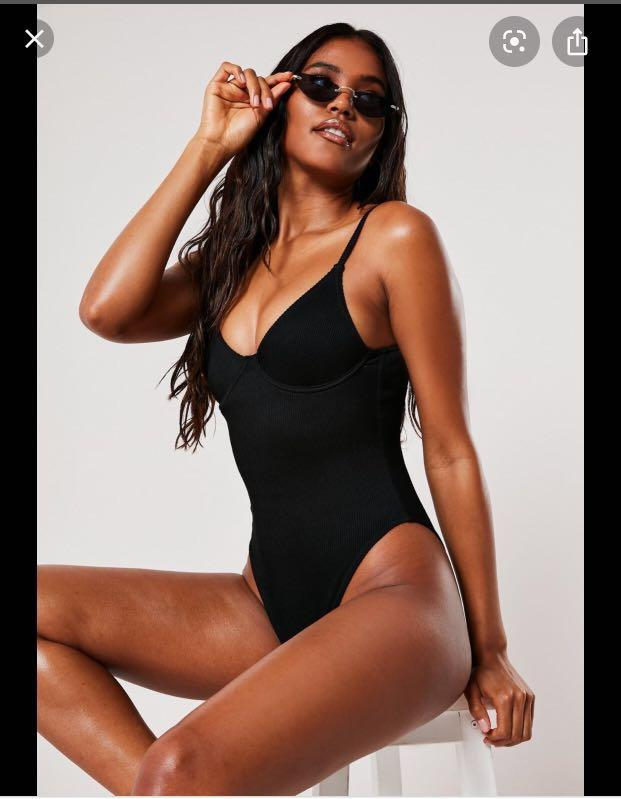 Missguided underwire one piece swimsuit black high leg