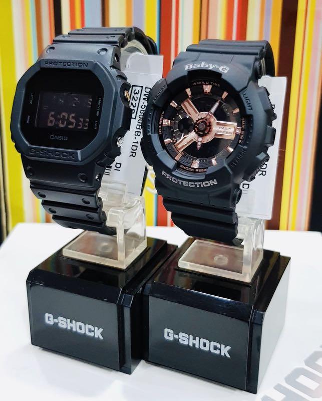 NEW🌟COUPLE💝SET : BABYG GSHOCK UNISEX SPORTS WATCH : 100% ORIGINAL AUTHENTIC : By CASIO BABY-G-SHOCK ( GSHOCK ) COMPANY : DW-5600BB-1 + BA-110RG-1A / BA-110-1A + DW-5600-1