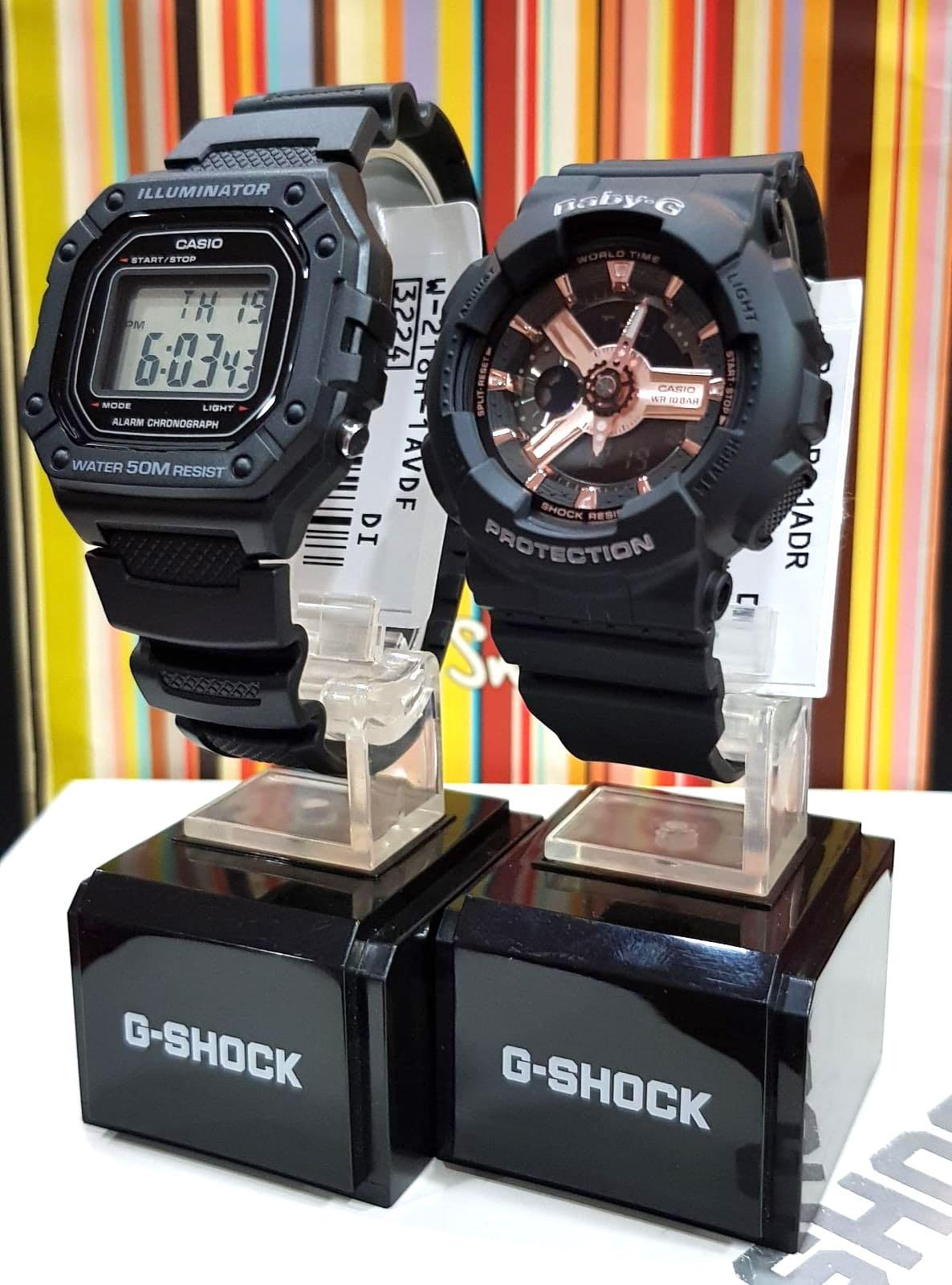 NEW🌟COUPLE💝SET : CASIO BABYG UNISEX SPORTS WATCH : 100% ORIGINAL AUTHENTIC : By BABY-G-SHOCK ( GSHOCK ) COMPANY : W-218H-1AV + BA-110RG-1A / BA-110-1A
