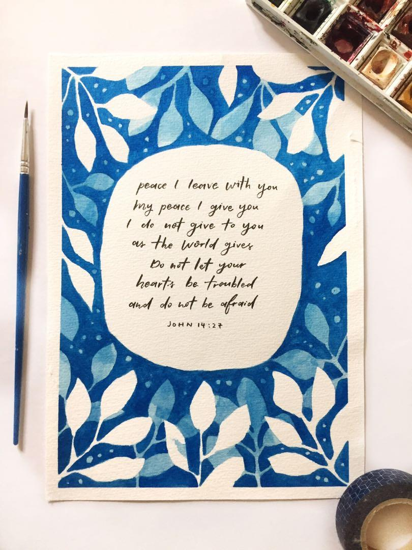 Do not let your hearts be troubled - John 14:27 || WATERCOLOUR PAINTING / CARD
