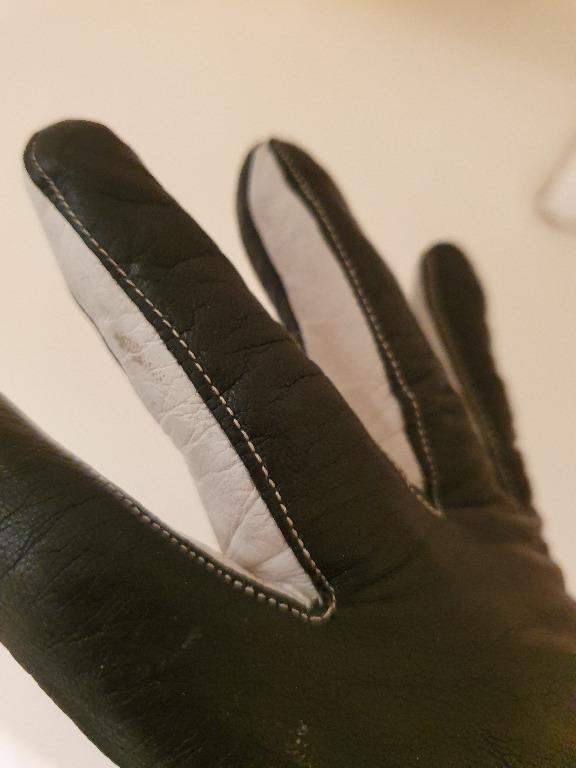Pre-loved Piumelli Milan Black and White Bow Detail Genuine Leather Gloves (Sz 8)