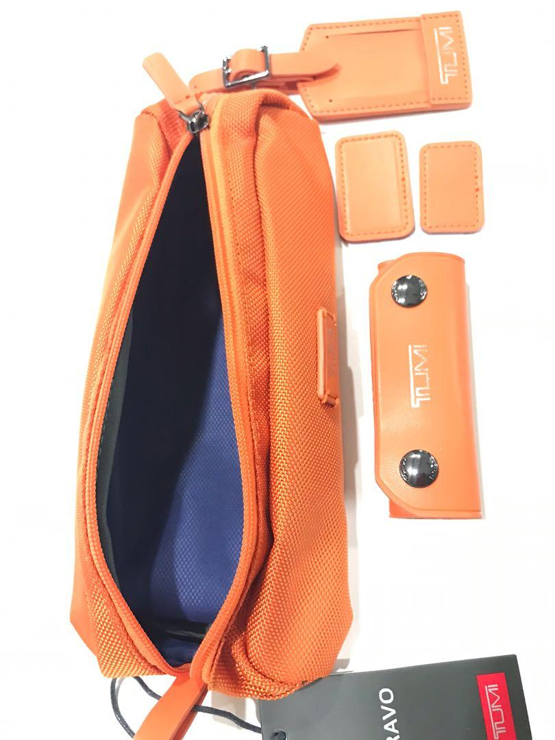 ☄️Ready Stock☄️ Tumi Bag Case Cablecase Pencil case new oranges color with TUMI paperbag