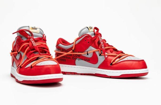US 10.5 NIKE DUNK LOW LEATHER X OFF-WHITE – UNIVERSITY RED