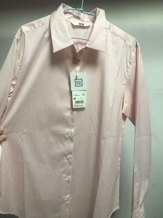 Uniqlo 粉紅條紋 襯衫