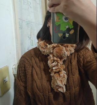 <出清>花栗鼠💕超柔軟仿兔毛溫暖圍巾