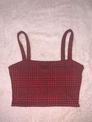 supre red checkered crop top