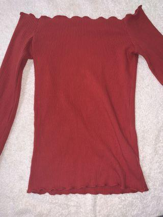 red glassons off the shoulder top