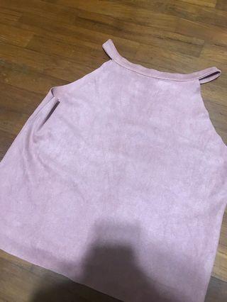 Suede pink top