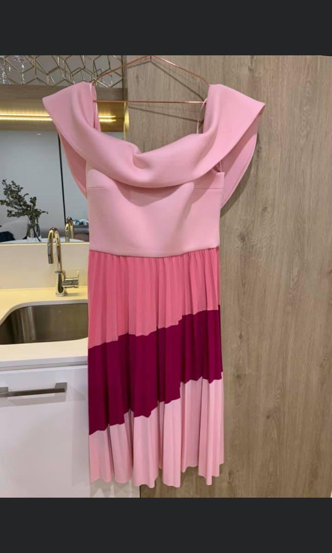 ASOS off shoulder pink colour block pleated dress Sz12
