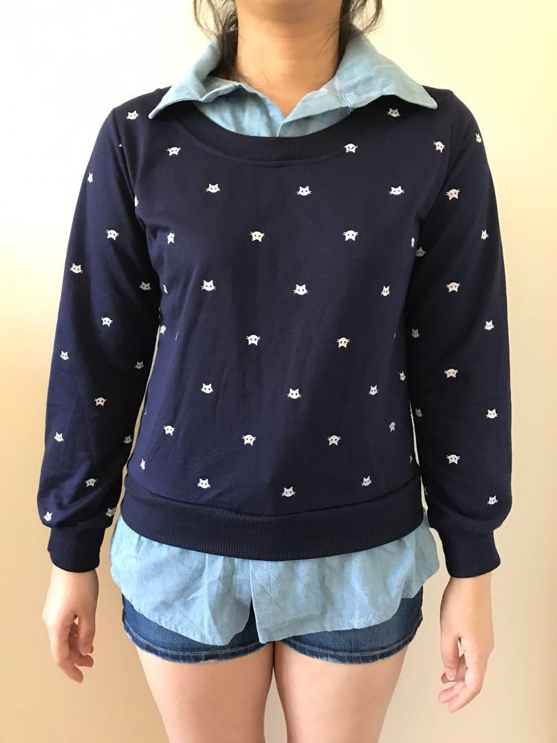 Blue top with sweater and collar detail with cat pattern