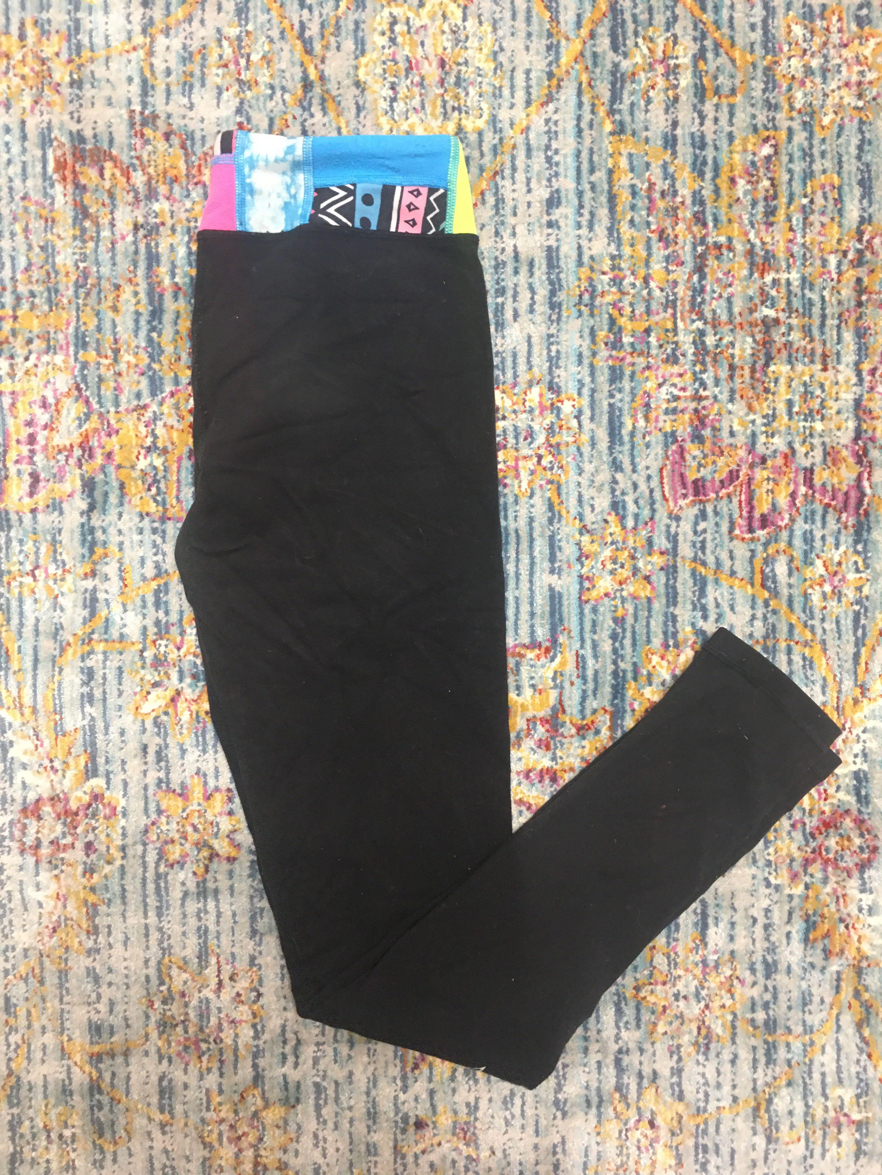 Girl's Ivivva Size 14 Black Leggings w/ multi-colour band