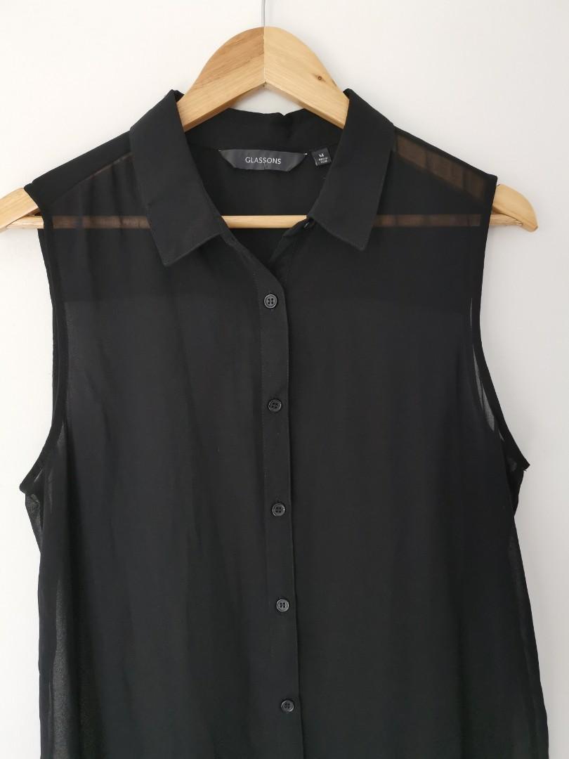Glassons Semi-Sheer Beach Midi Dress in Black - Size M