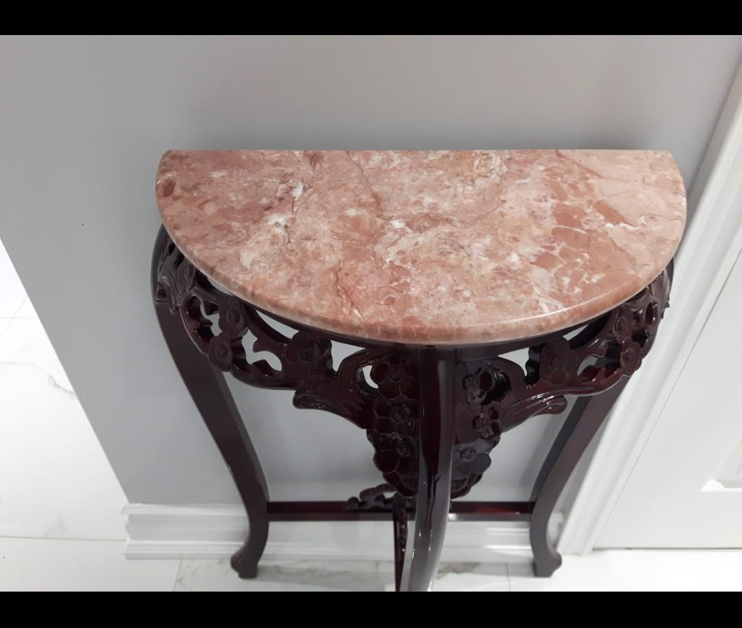 Just Lowered-HALF MOON ANTIQUE FOYER TABLE DUSTY ROSE MARBLE AND DARK CHERRY WOOD