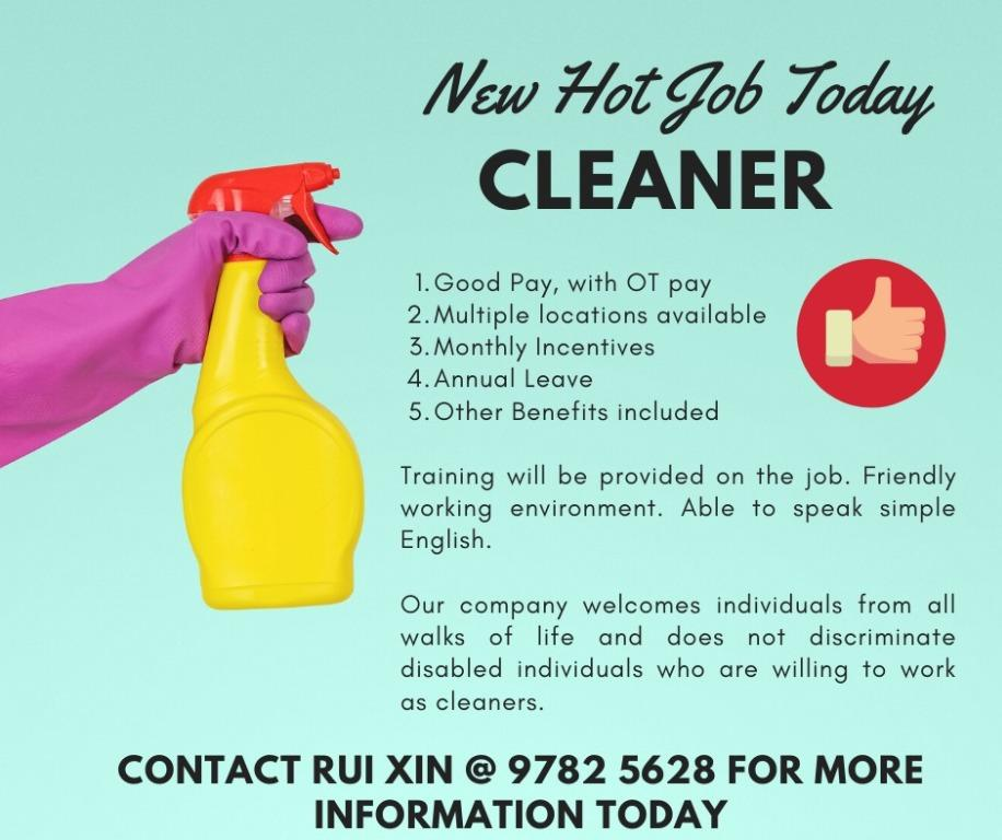 Immediate Hiring Cleaner and Steward