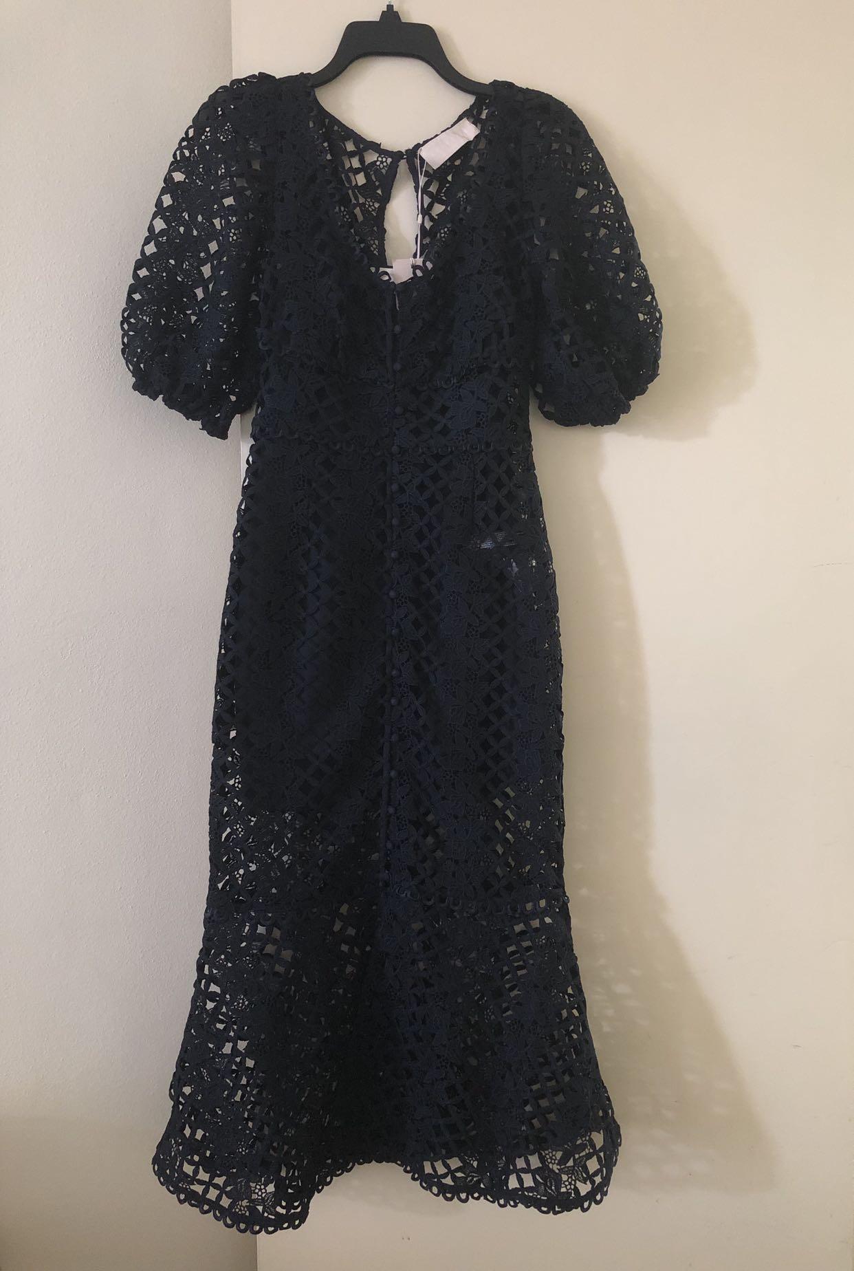 Keepsake Lace Midi Dress Size XS/AU UK 6/US 0-2 (Navy)