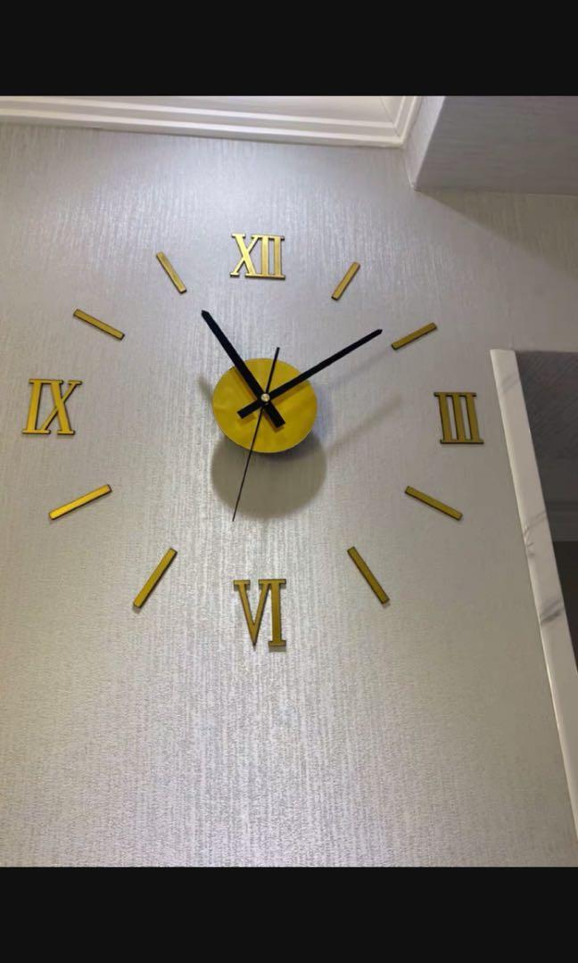 P.O. Roman Modern European style wall clock black gold