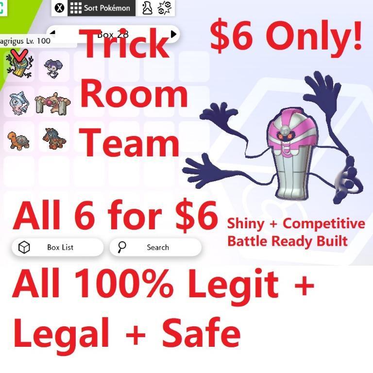 Pokemon Sword Shield Shiny Competitive Trick Room Team Set