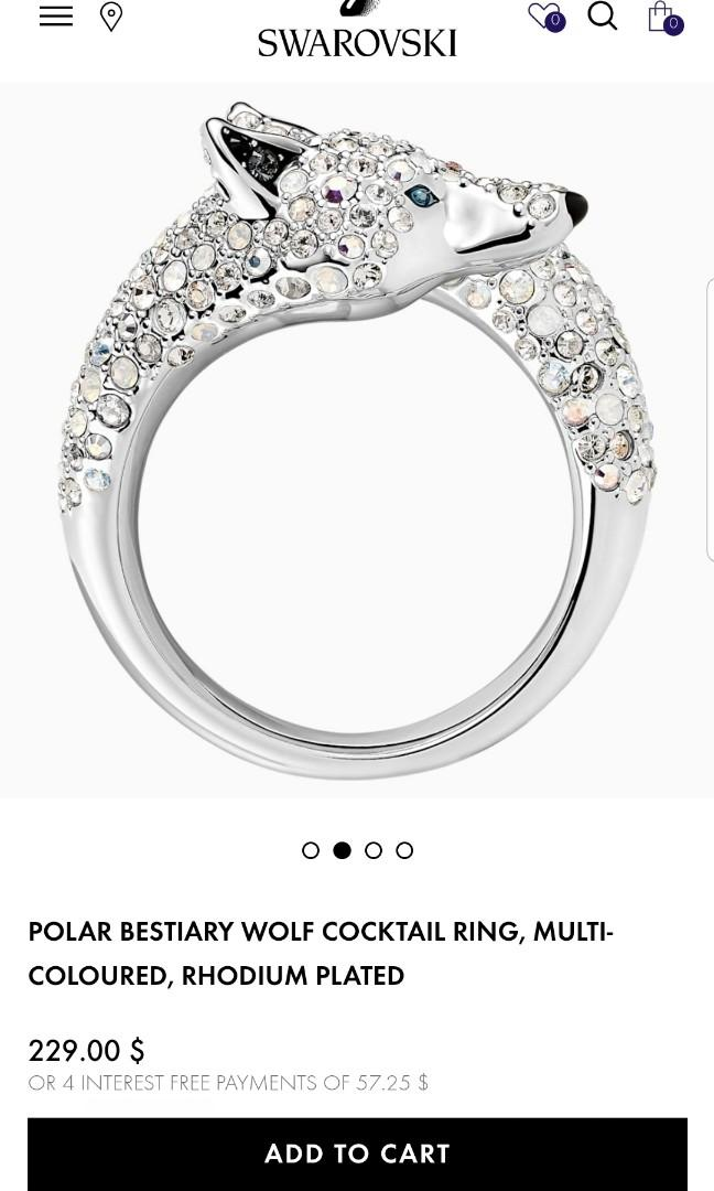 Polar Bestiary Wolf Cocktail Ring, Multi-Coloured, Rhodium Plated