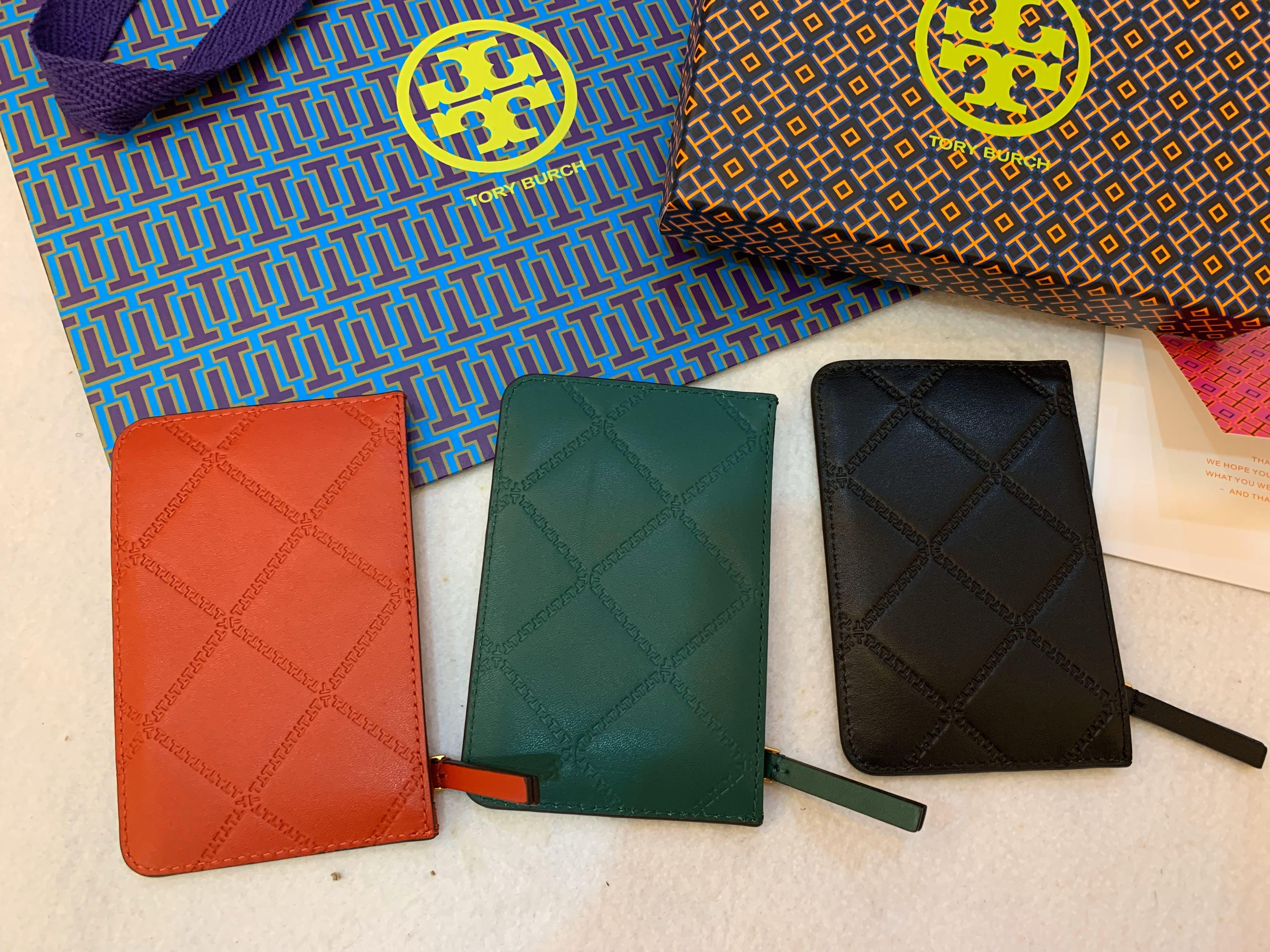 Ready Stock authentic card holder with zip Christmas gift collection Tory Burch