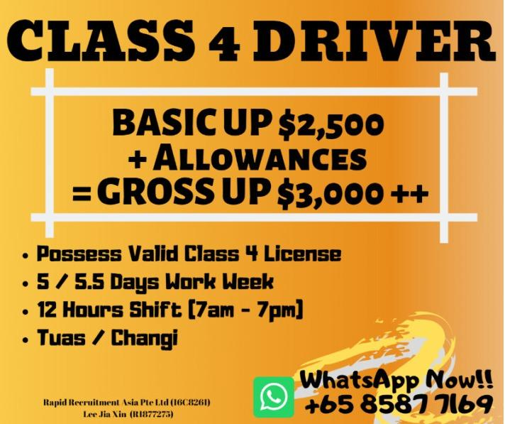 Sign-in bonus- Class 4 Driver (Gross UP $3200++/East & West)