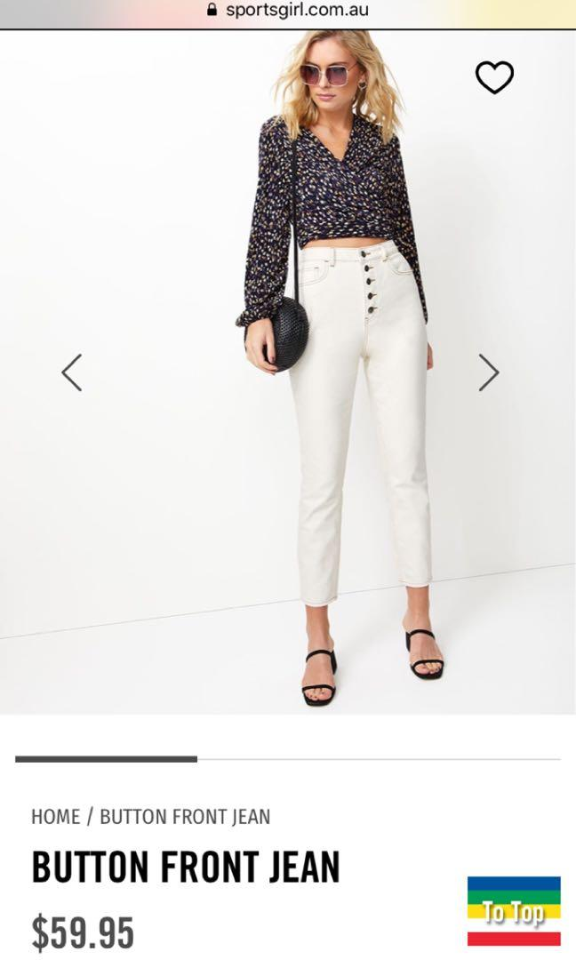 Sportsgirl Cream High Waisted Button Front Mom Jeans