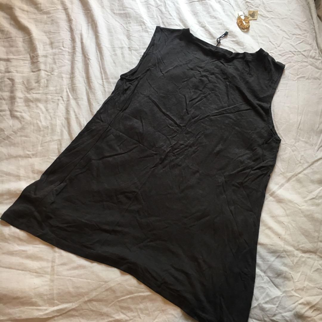 'Sunshine of Love' Sleeveless Black/Dark Grey Top   Brand: Bershka   Mad