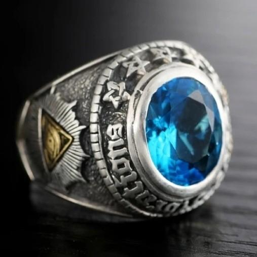 Unique Goat Head Ring Featuring a Blue Zirconia Stone