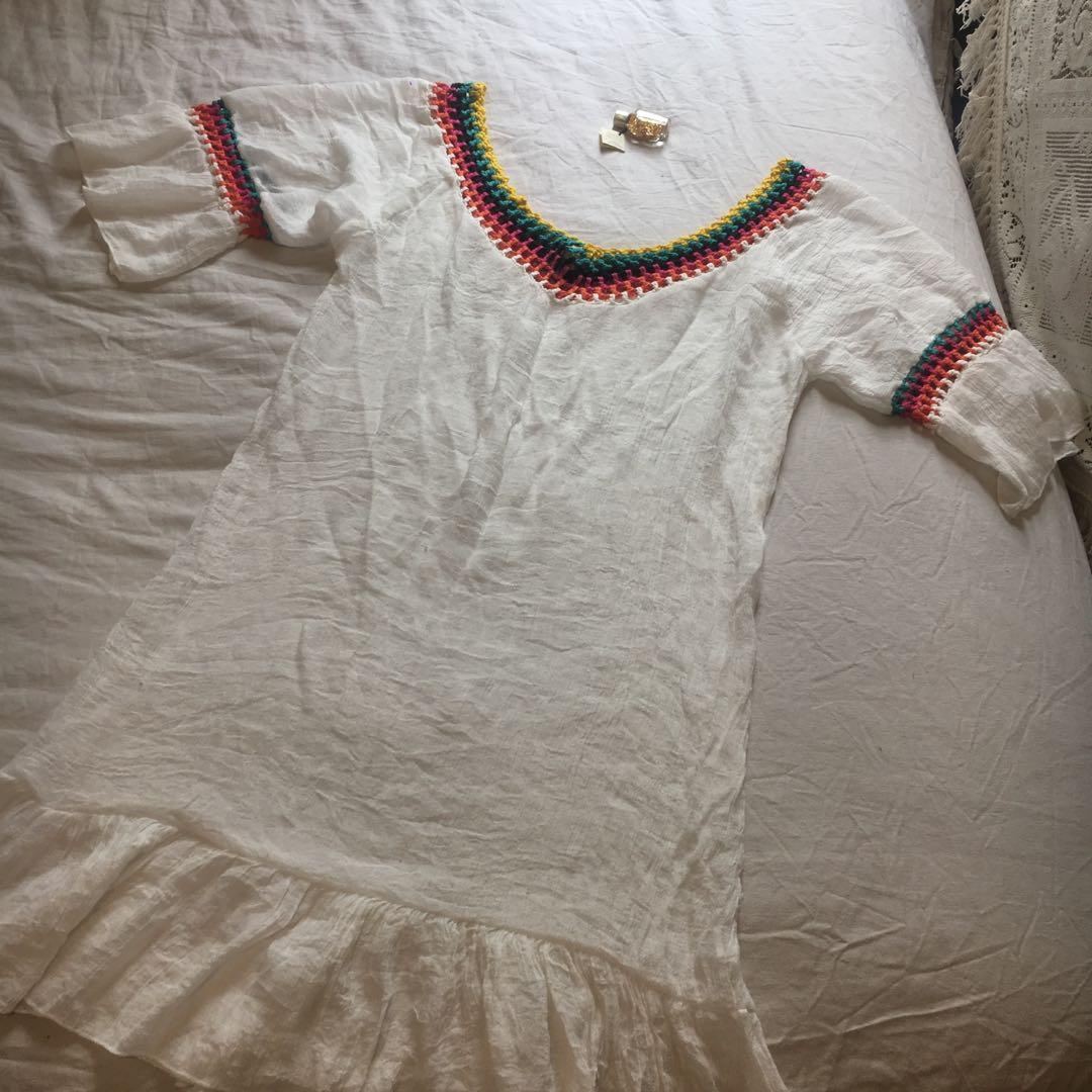Vintage White Peasant Gypsy Dress with Rainbow multicoloured crochet trim detail