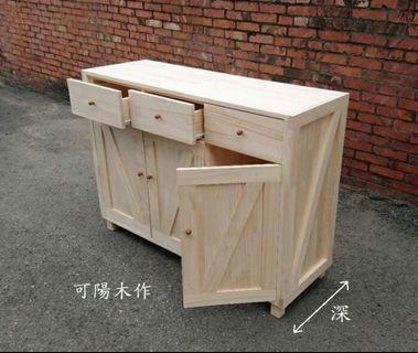 【可陽木作】原木工業風三抽屜三門櫃 / 櫥櫃 / 玄關櫃 / 置物櫃 收納櫃 書櫃 / 衣櫃 鞋櫃