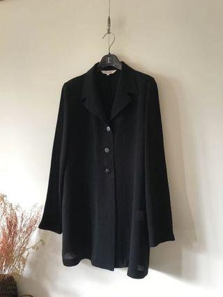 Vintage日本製 黑色-皺壓雪紡簡約外套上衣