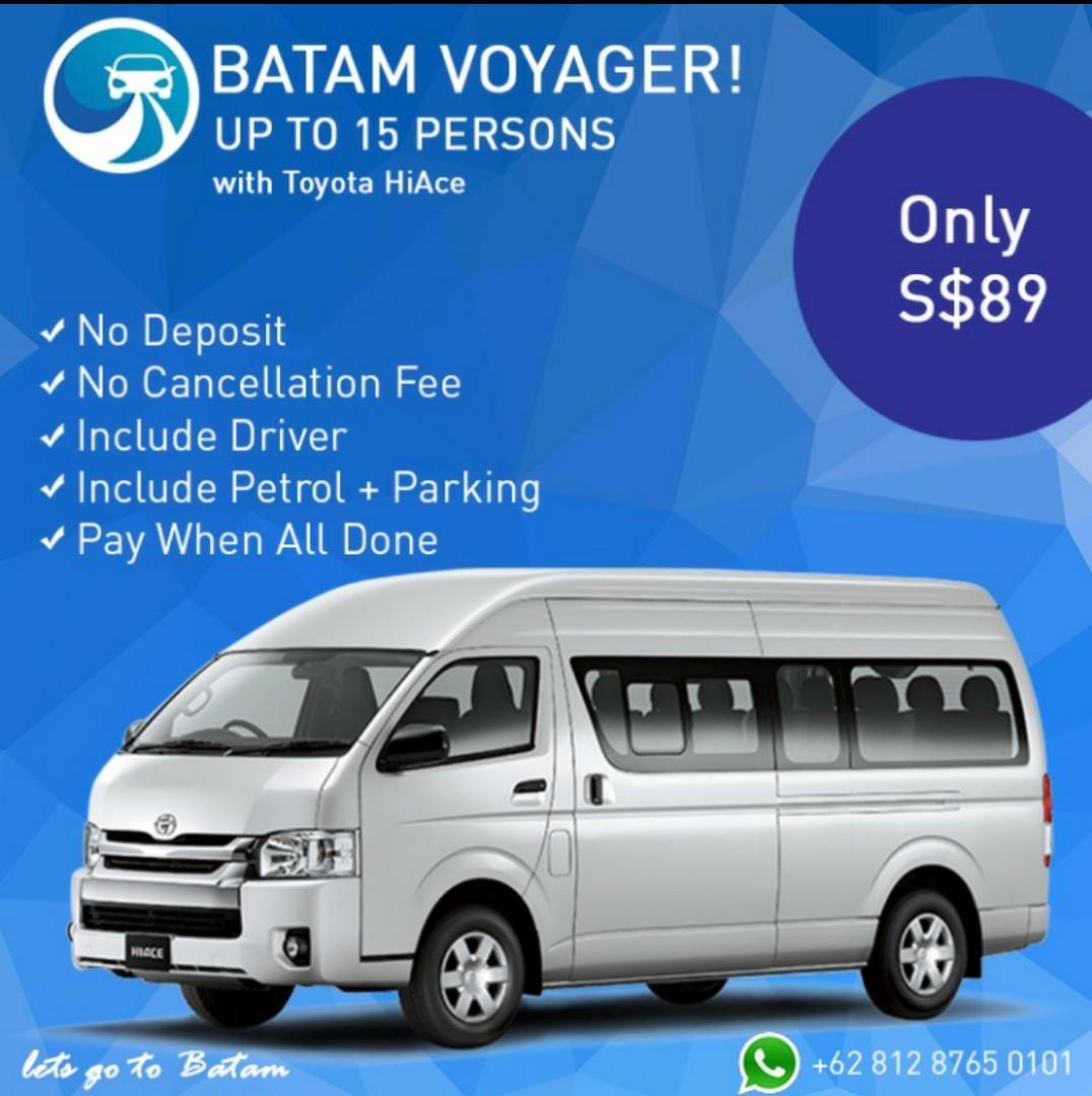 Batam Family Trip Company Trip Car Rental HiAce ALL IN NO HIDDEN COST