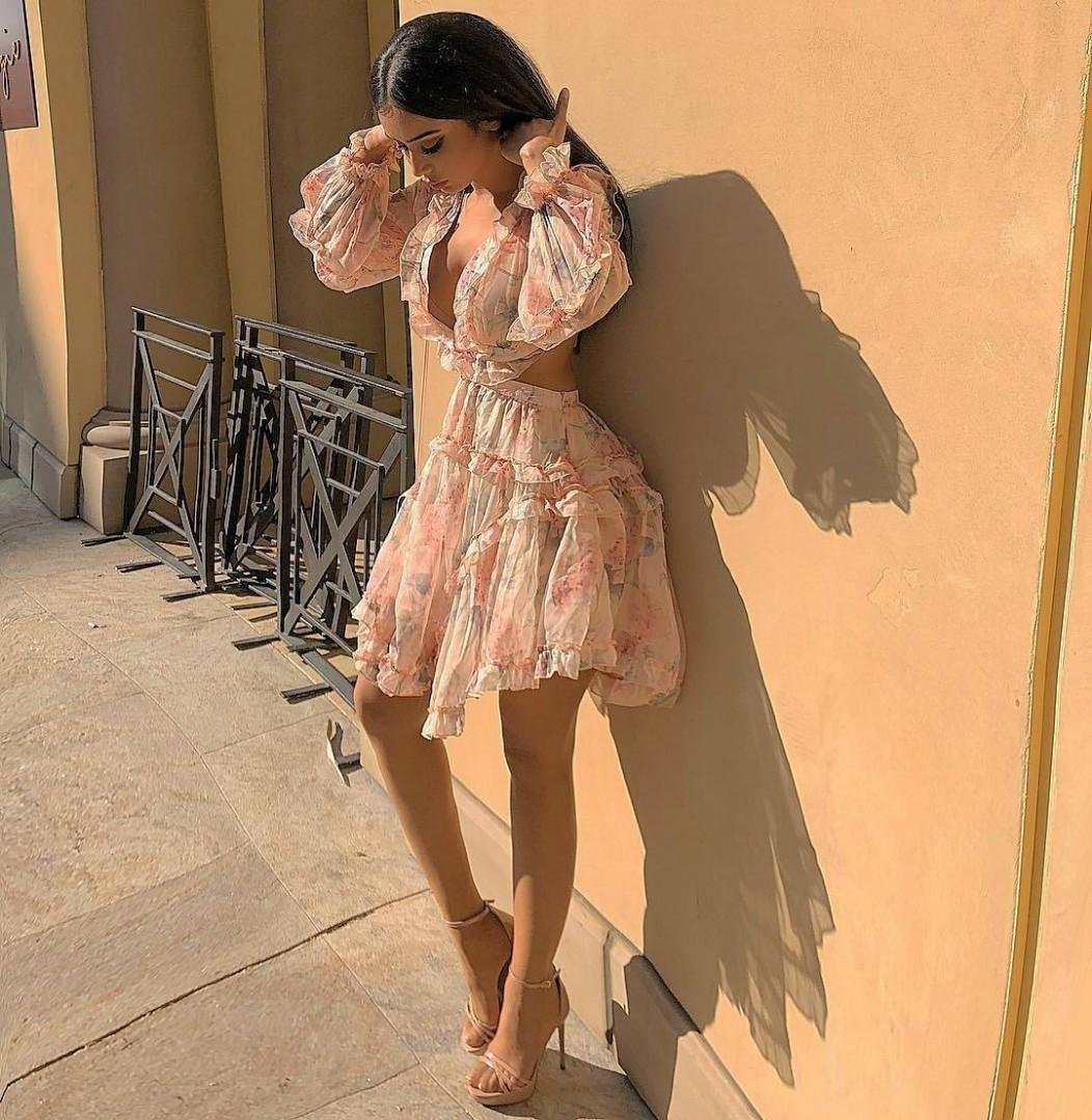CATWALK CONNECTION flora floral mini ruffle dress sale/hire