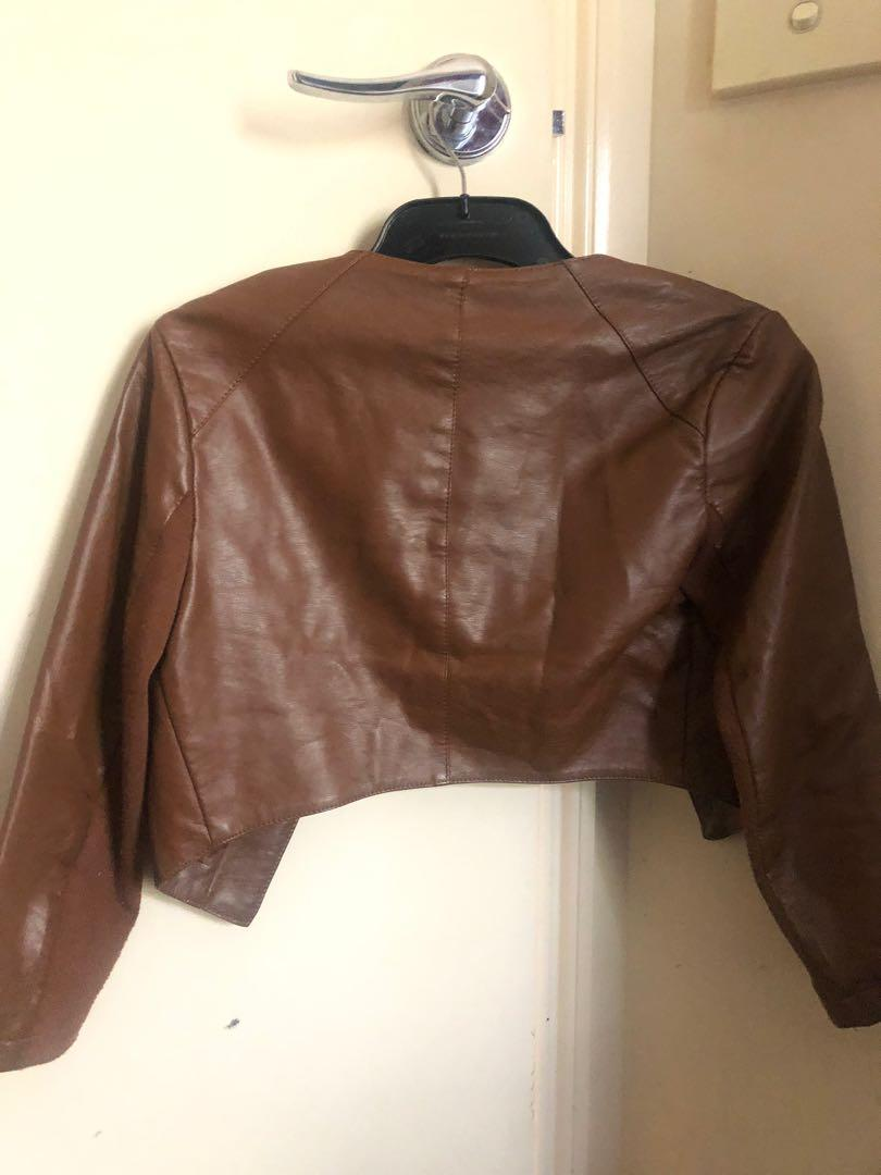 Dotti faux leather cropped jacket - brown - size 6