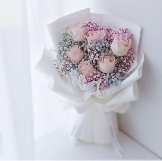 Flower Bouquet Pink Rose With Rainbow Baby Breath Florist Rose Flower Bouquet Gardening Flowers Bouquets On Carousell