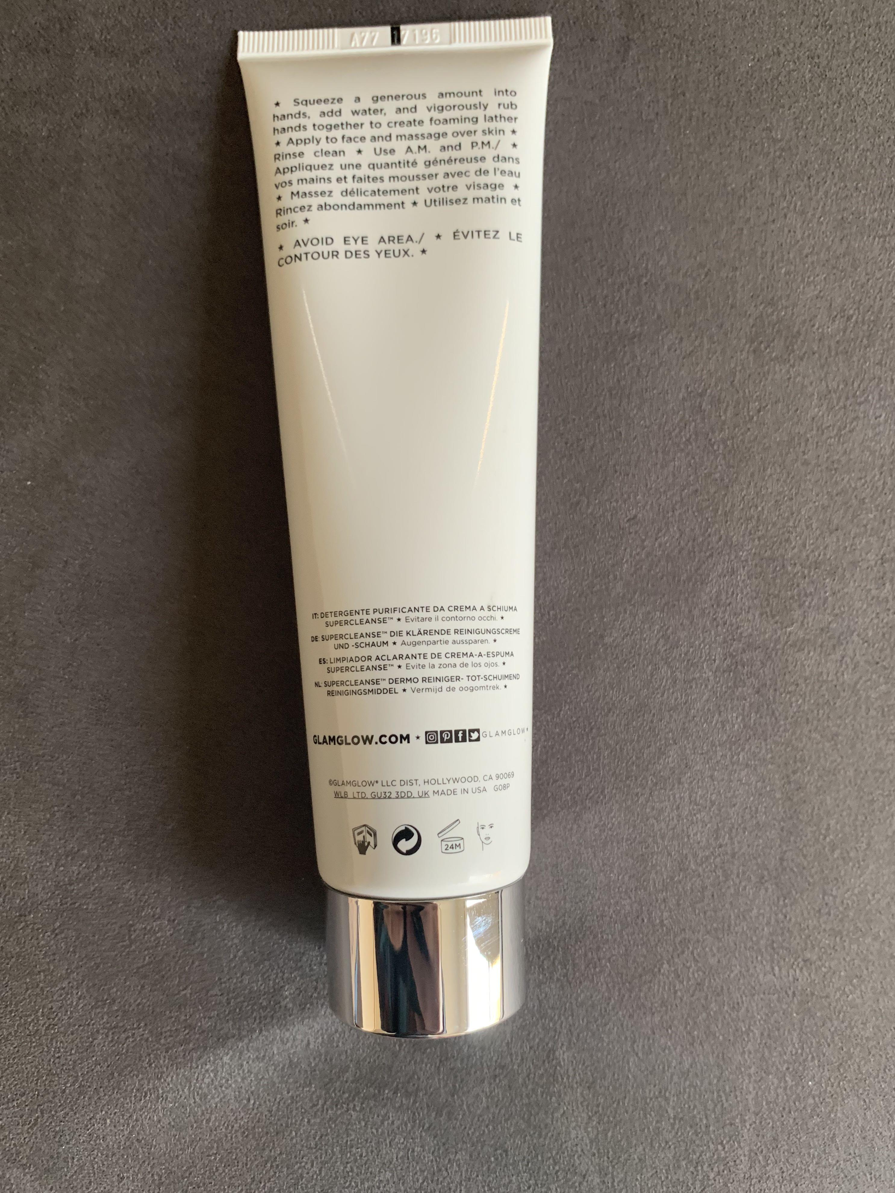 Glamglow supercleanse clearing cream-to-foam cleanser full size 150g
