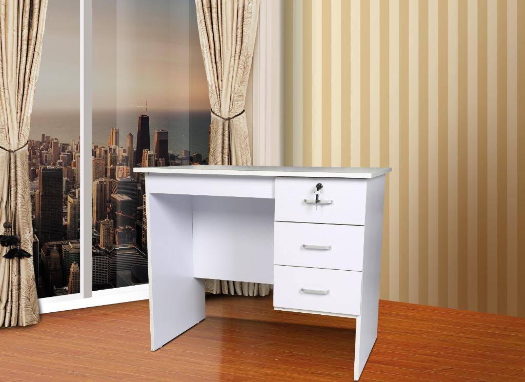 HEQS REDFERN STUDY DESK WITH 3 DRAWERS - BLACK/WHITE