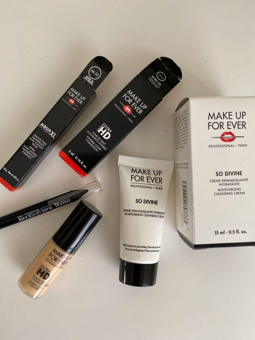 Makeup forever minis set foundation eyeliner cleanser