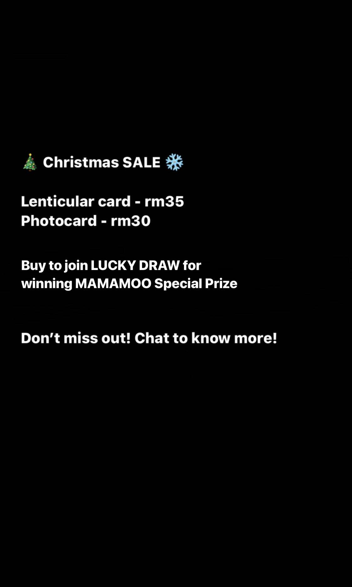 Mamamoo reality in BLACK Official Lenticular Card & Photocard