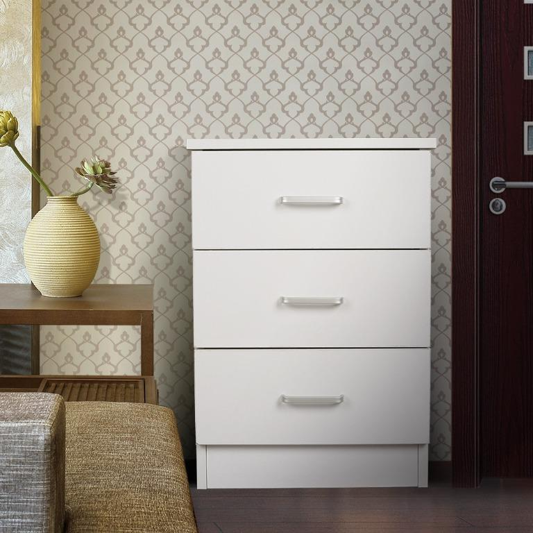 PRICEOWORTH REDFERN 3 DRAWERS BEDSIDE TABLE/CHEST - ( BLACK / WHITE)