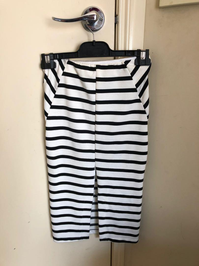 Slideshow striped midi skirt - black/white - size 6