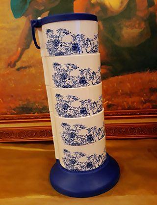 《現貨》立式旋轉五層調味盒 (青花瓷圖案)