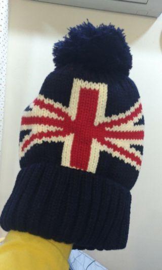 英國 國旗 毛帽 帽子 深藍色 綠色 原價125