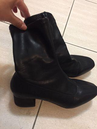 黑靴 窄靴 短靴 襪靴