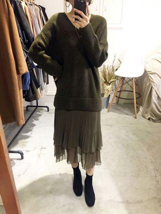 正韓高單v領針織毛衣拼雪紡長洋裝#全新 #墨綠