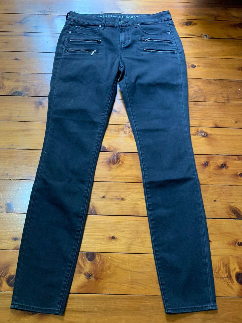 Articles Of Society Black High Waist Jeans Size 29 Zip Detail
