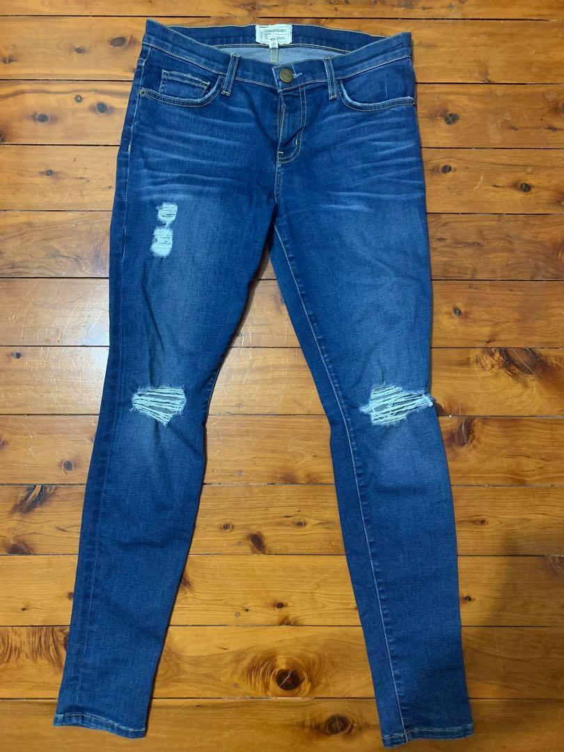 Current Elliot Size 29 Mid Rise Skinny Jeans Distressed Designer