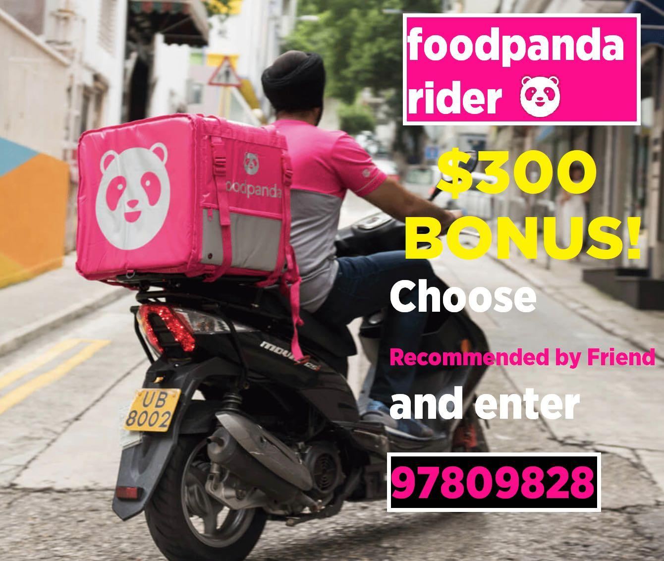 Foodpanda Refer Delivery Rider $300 Bonus - Up to $35/h