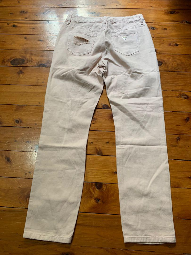 Guess Pink Distressed Skinny High Rise Jeans Size 28 US