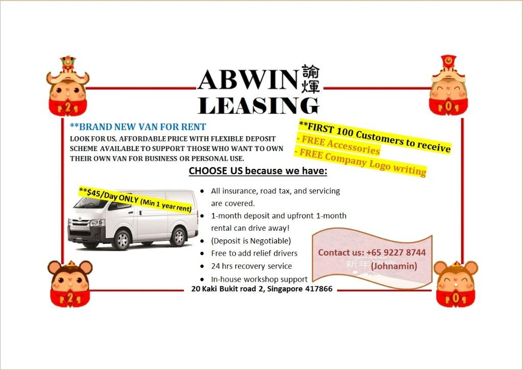 CNY PROMO Leasing Brand NEW / Used Van/Lorry (Min 12 months)
